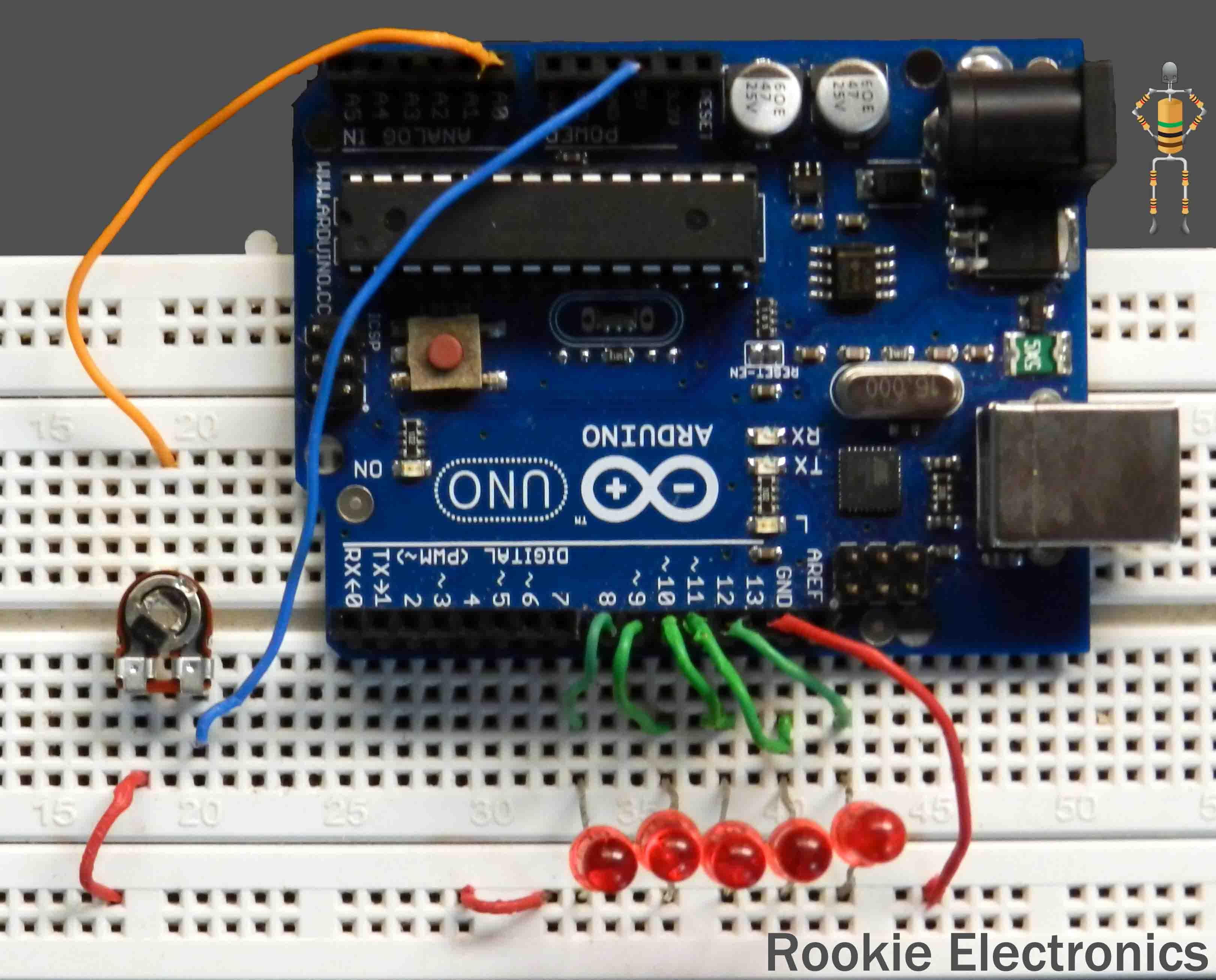 led chaser using arduino rookie electronics electronics rh rookieelectronics com