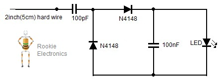 rf radiation detector rookie electronics electronics robotics rh rookieelectronics com Pin Diode Radiation Detector Schematic Metal Detector Circuit