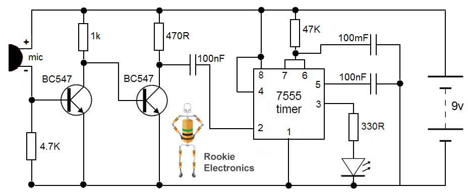 Clap Switch Circuit Rookie Electronics Electronics Robotics Rh  Rookieelectronics Com Clap Switch Components Clap On Clap Off Switch