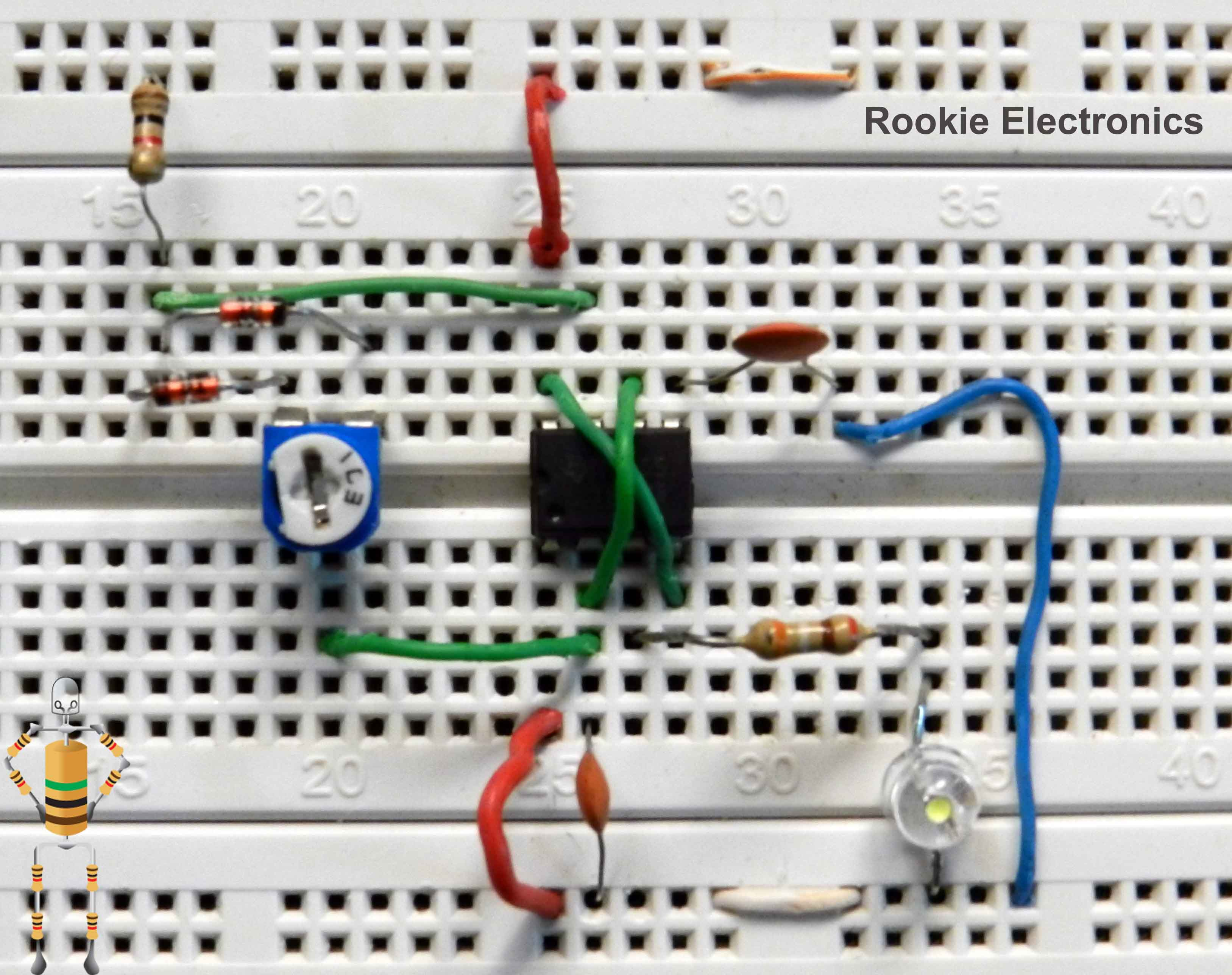 555 Timer Led Dimmer Circuit Karmashares Llc Leveraging Pwm Using Ne555 And Block Diagrams 1 Watt Project Bread Board Arrangement