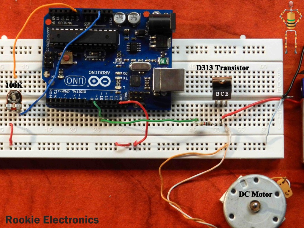 Controlling DC motor speed with an analog input and transistor