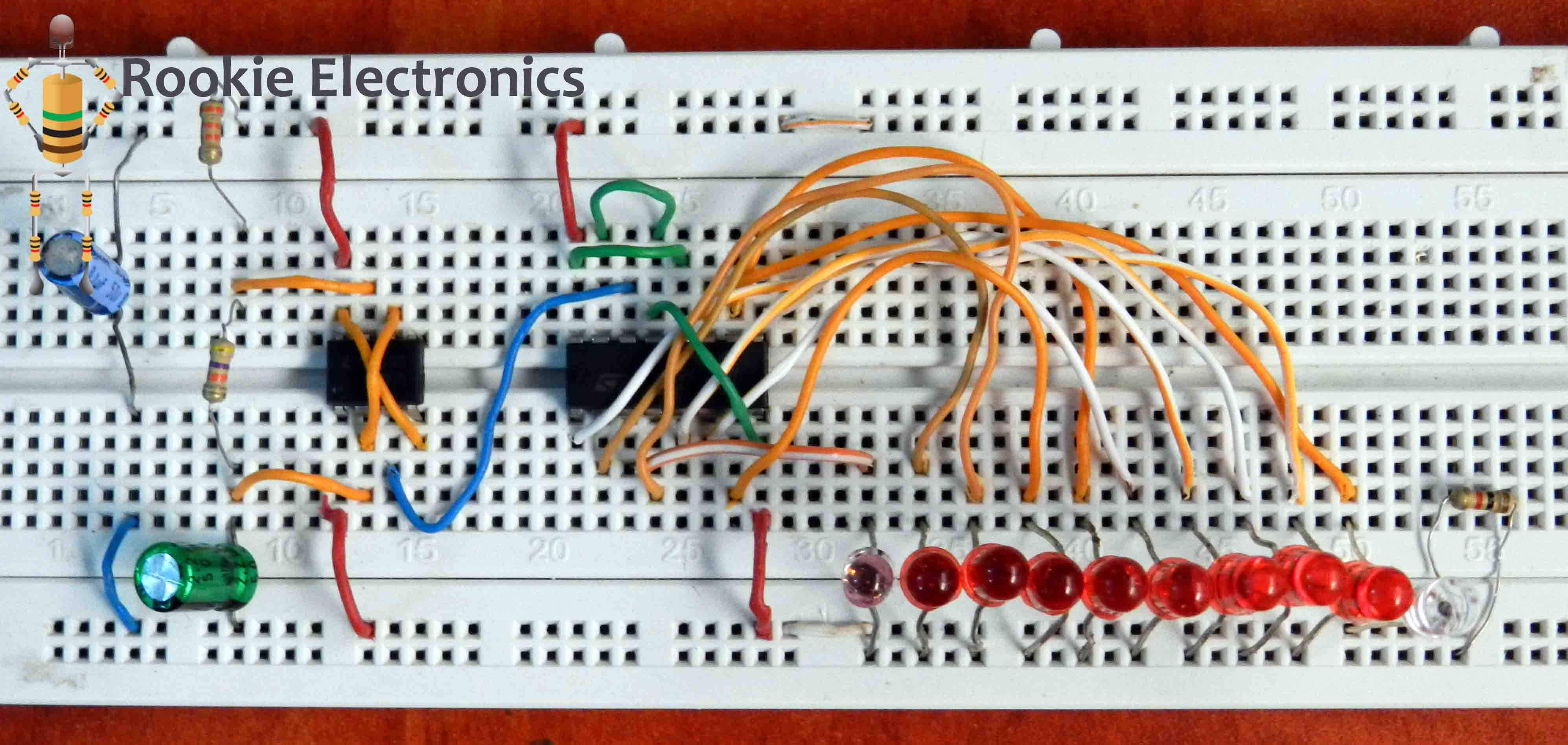 Led Chaser Rookie Electronics Robotics Projects Breadboard Circuit Detail Diagram Bread Board Arrangement Ic Pin Configuration