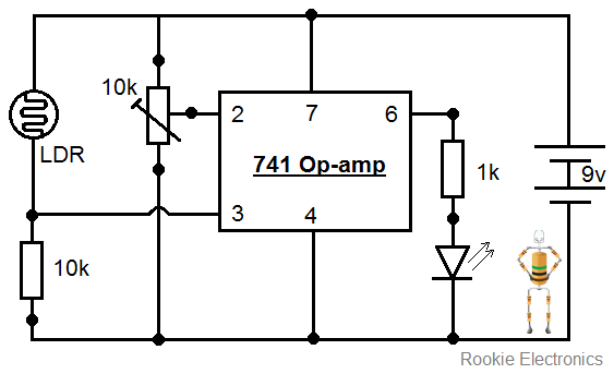 Simple Light Sensor using 741 Op-amp | Rookie Electronics ...