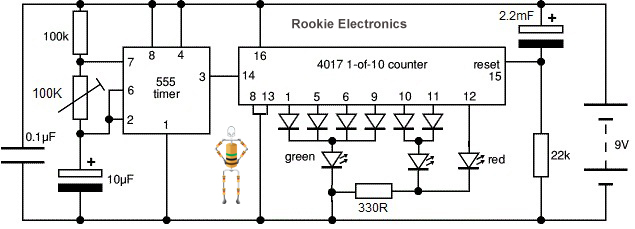 traffic lights using 4017 555 timer rookie electronics circut diagram