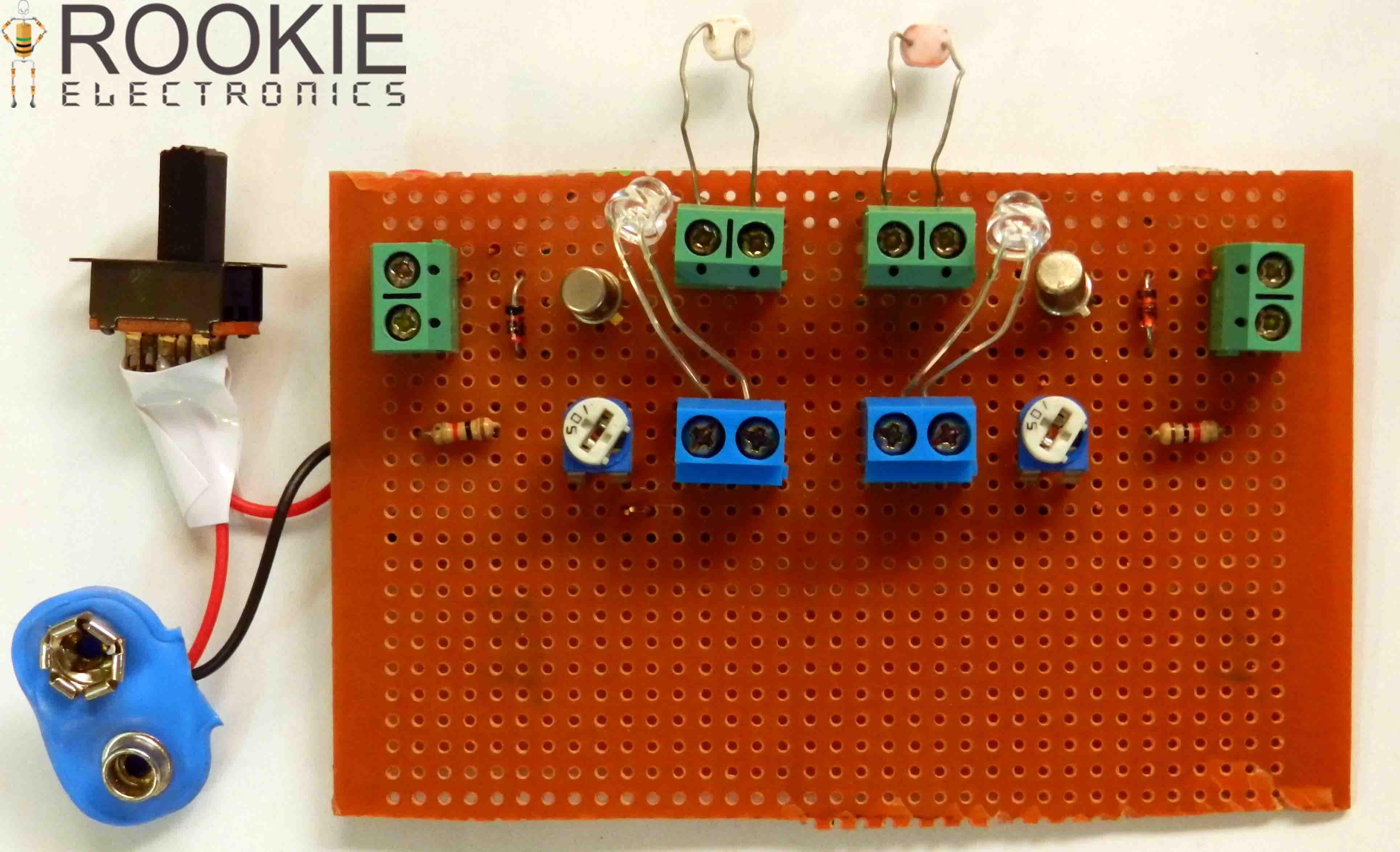 Lfr Using Bc108 Transistors Rookie Electronics Line Follower Circuit Black