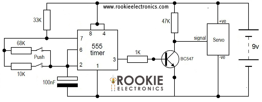 Servo Using Timer on Servo Motor 555 Circuit Diagram